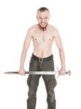 Hombre hermoso joven con el griterío de la espada aislado Imagen de archivo libre de regalías