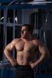 Hombre hermoso, potente, fuerte que presenta en el gimnasio Fotos de archivo libres de regalías