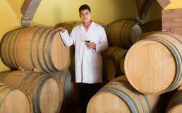 Hombre hermoso que comprueba proceso del envejecimiento del vino rojo fotos de archivo libres de regalías