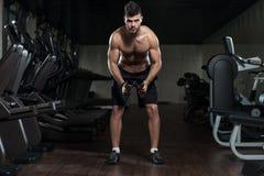 Hombre hermoso que ejercita el hombro con pesas de gimnasia Imágenes de archivo libres de regalías