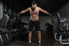Hombre hermoso que ejercita el hombro con pesas de gimnasia Fotos de archivo libres de regalías