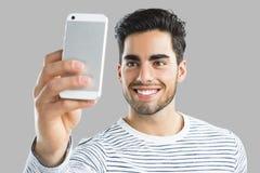 Hombre hermoso que hace un selfie Imagen de archivo libre de regalías