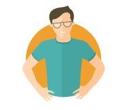 Hombre hermoso resuelto en vidrios Lets lo hace concepto Icono plano del diseño Muchacho decisivo con los brazos en jarras VE ais stock de ilustración