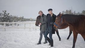 Hombre hermoso y mujer linda que llevan dos caballos marrones que hablan en el rancho del invierno de la nieve Pares positivos fe almacen de metraje de vídeo