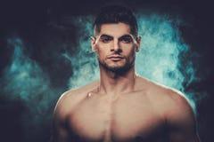 Hombre hispánico con el torso desnudo que presenta en fondo oscuro ahumado Fotos de archivo