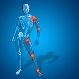 Hombre humano conceptual 3D o anatomía esquelética del dolor o del dolor del varón Foto de archivo libre de regalías