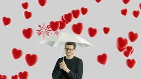 Hombre humano de la persona que no le gusta concepto del amor del día de San Valentín del odio almacen de metraje de vídeo
