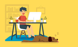 Hombre independiente que trabaja en casa ilustración del vector