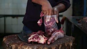 Hombre indio que clasifica la carne en la carnicería en Bombay almacen de metraje de vídeo