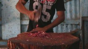 Hombre indio que taja la carne en la carnicería en Bombay almacen de video