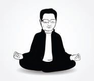 Hombre indio tranquilo que se sienta en actitud del loto en blanco Fotografía de archivo libre de regalías