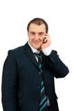Hombre italiano que habla en el teléfono Imágenes de archivo libres de regalías