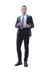 Hombre joven acertado en un traje de negocios Imágenes de archivo libres de regalías