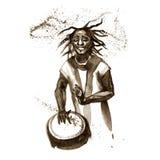 Hombre joven afroamericano de la acuarela que juega el tambor étnico libre illustration