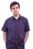Hombre joven aislado en el fondo blanco Imágenes de archivo libres de regalías