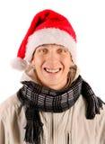 Hombre joven alegre en Santa Hat Fotos de archivo