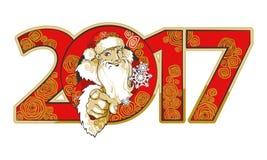Hombre joven amistoso sonriente en el traje de Santa Claus stock de ilustración