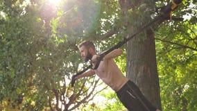 Hombre joven barbudo que hace pectorales en lazos de la aptitud cerca de un árbol en parque de la sol cantidad lenta del efecto d almacen de metraje de vídeo