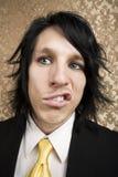Hombre joven borracho o enojado Foto de archivo libre de regalías