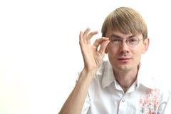 Hombre joven con aspecto de búho imagen de archivo libre de regalías