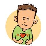 Hombre joven con ataque del corazón Icono plano del diseño Ejemplo plano del vector Aislado en el fondo blanco stock de ilustración