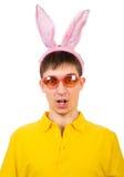 Hombre joven con Bunny Ears Fotografía de archivo
