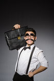 Hombre joven con el bigote falso fotografía de archivo libre de regalías