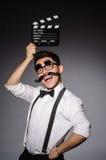 Hombre joven con el bigote falso imágenes de archivo libres de regalías
