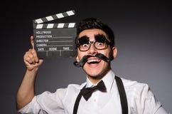Hombre joven con el bigote falso fotos de archivo libres de regalías