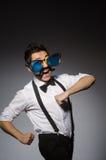Hombre joven con el bigote falso foto de archivo libre de regalías