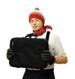 Hombre joven con el bolso Fotografía de archivo
