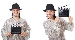 Hombre joven con el chapaleta-tablero aislado en blanco fotos de archivo libres de regalías