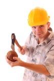 Hombre joven con el coco Imagen de archivo libre de regalías