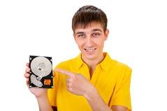 Hombre joven con el disco duro Fotografía de archivo libre de regalías