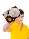 Hombre joven con el disco duro Imagenes de archivo