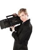 Hombre joven con el jugador estéreo Imágenes de archivo libres de regalías