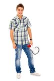 Hombre joven con el megáfono Foto de archivo