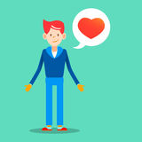 Hombre joven con el mensaje del amor para la enfermedad del vector del diseño del día de tarjetas del día de San Valentín Imagenes de archivo