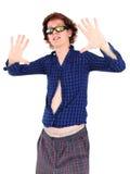 Hombre joven con el pelo y la ropa divertidos Fotografía de archivo libre de regalías