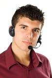Hombre joven con el receptor de cabeza Fotografía de archivo libre de regalías