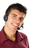 Hombre joven con el receptor de cabeza Imagen de archivo