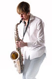 Hombre joven con el saxofón Fotografía de archivo libre de regalías