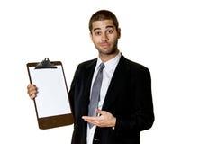 Hombre joven con el sujetapapeles Imagenes de archivo