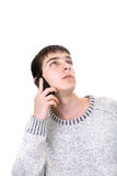 Hombre joven con el teléfono Fotografía de archivo