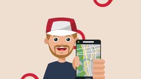 Hombre joven con la animación del app HD del taxi del smartphone libre illustration