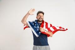 Hombre joven con la bandera de los Estados Unidos de América foto de archivo libre de regalías