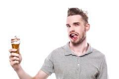 Hombre joven con la boca windblown Fotos de archivo