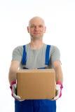 Hombre joven con la cabeza calva y la cartulina imágenes de archivo libres de regalías