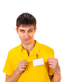Hombre joven con la insignia vacía Foto de archivo libre de regalías