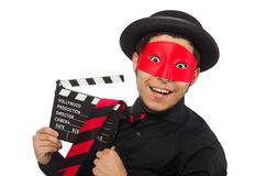 Hombre joven con la máscara roja aislada en blanco Fotos de archivo libres de regalías